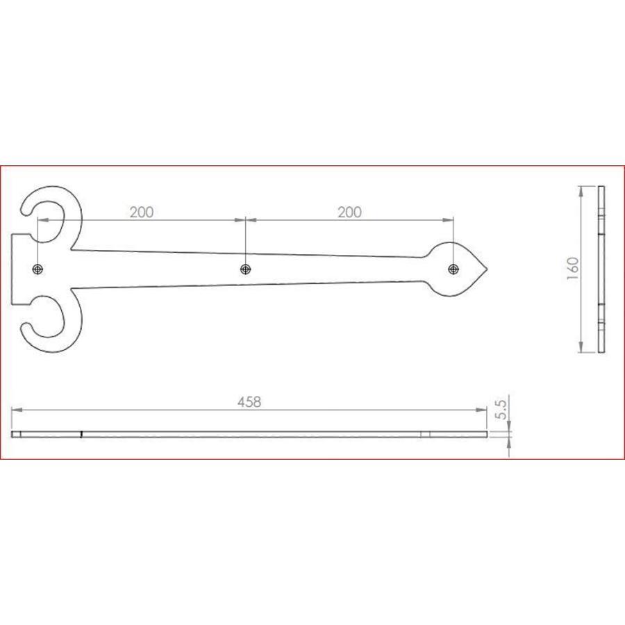 Gusseisen Zierscharnier 458 x 155mm