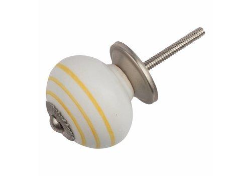 Möbelknopf weiß mit gelben Streifen
