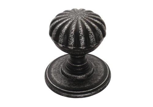Gusseisen Möbelknauf Blume 32mm - Zinn-Effekt