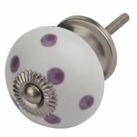 Porzellanknauf weiß mit lilanen Punkten
