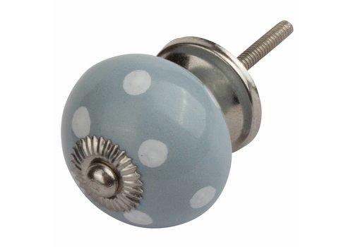 Keramik Möbelknopf grau mit weißen Punkten