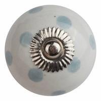 Porzellanknauf weiß mit grauen Punkten