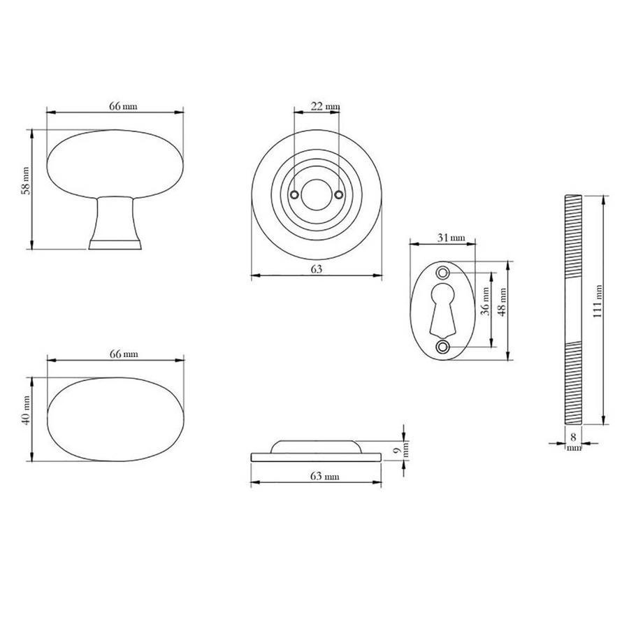Rustikaler Gusseisen Türknauf oval
