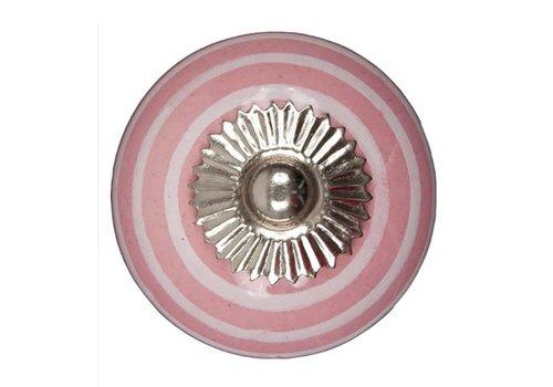 Keramik Möbelknopf pink mit weißen Streifen