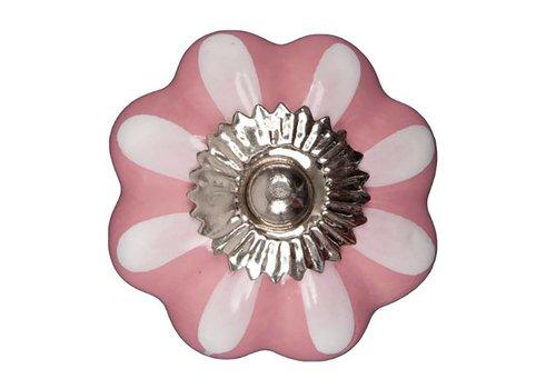 Keramik Möbelknopf pink/weiße Blume