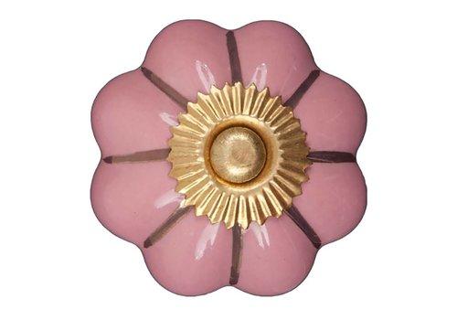 Keramik Möbelknopf pinke Blume mit goldenen Streifen