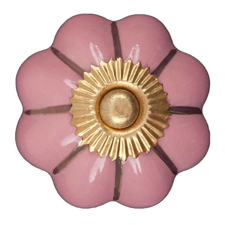 Porzellanknauf pinke Blume mit goldenen Streifen