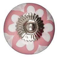 Porzellanknauf pink mit weißen Herzchen