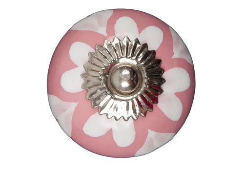 Keramik Möbelknopf pink mit weißen Herzchen