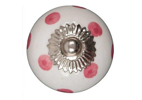 Keramik Möbelknopf weiß mit dunkelpinken Punkten