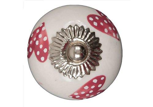 Keramik Möbelknopf weiß mit dunkelpink/weiß gepunktete Herzchen