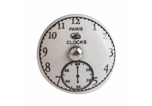 "Keramik Möbelknopf Uhr ""Paris Clocks"""