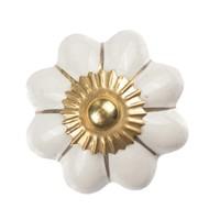 Porzellanknauf weiße Blume mit goldenen Streifen