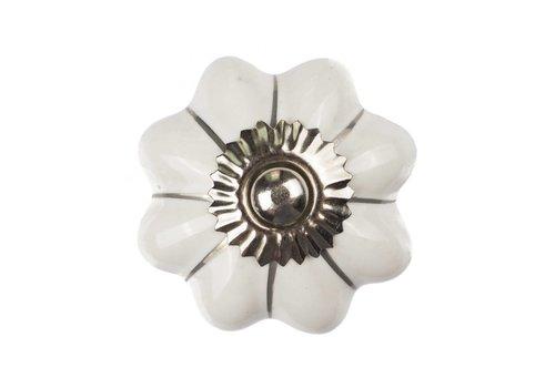 Keramik Möbelknopf weiße Blume mit silbernen Streifen