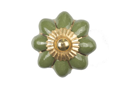 Keramik Möbelknopf grüne Blume mit goldenen Streifen