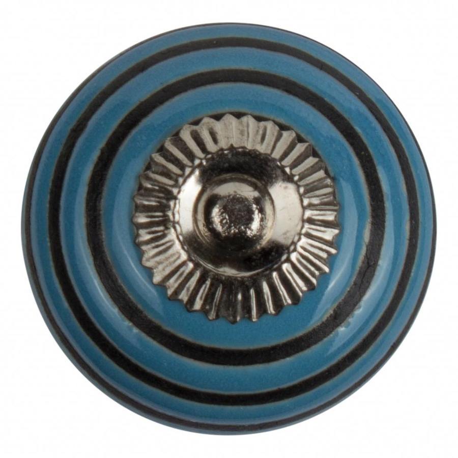 Porzellanknauf Relief - türkis mit schwarzen Streifen
