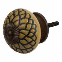 Porzellanknauf Relief - Schlange gelb mit schwarz