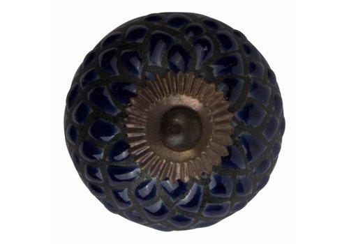 Keramik Möbelknopf Relief - Schlange dunkelblau mit schwarz