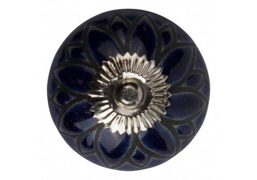 Keramik Möbelknopf Relief - Blume dunkelblau mit schwarz