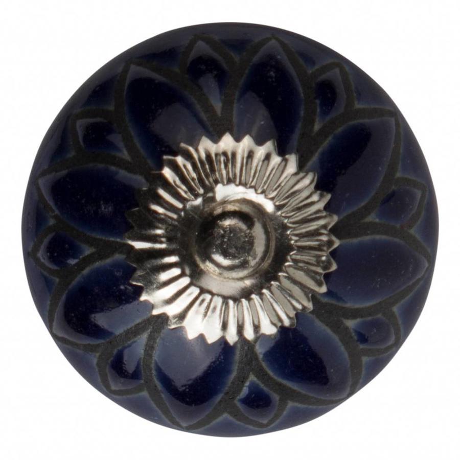 Porzellanknauf Relief - Blume dunkelblau mit schwarz