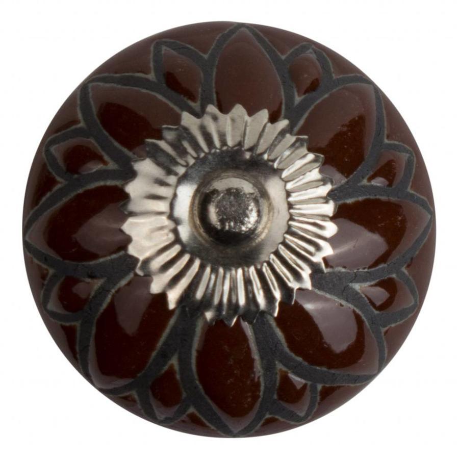 Porzellanknauf Relief - Blume braun mit schwarz