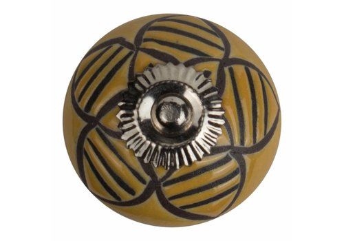Keramik Möbelknopf Relief - Biene gelb mit schwarz