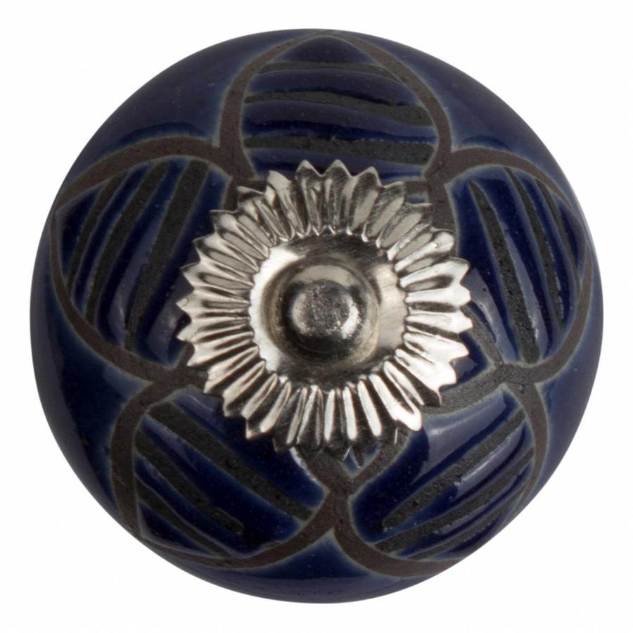 Porzellanknauf Relief - Biene dunkelblau mit schwarz