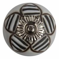 Porzellanknauf Relief - Biene weiß mit schwarz