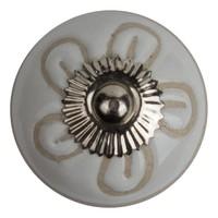 Porzellanknauf Relief - Blume II weiß mit beige