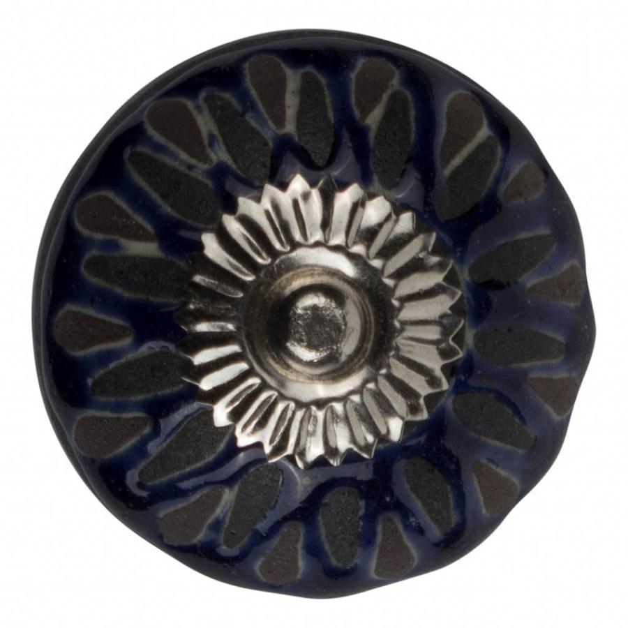 Porzellanknauf Relief - dunkelblau mit schwarz Deko