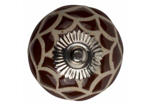 Keramik Möbelknopf Relief - Spinnennetz braun mit beige
