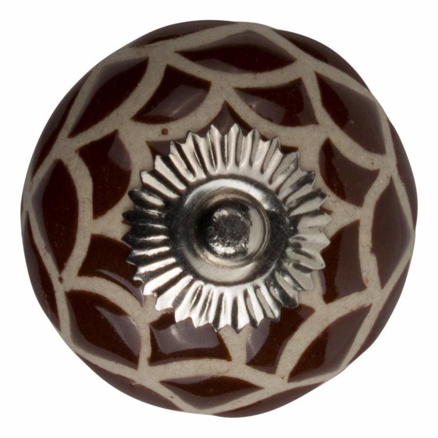 Porzellanknauf Relief - Spinnennetz braun mit beige