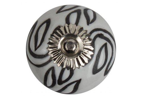 Keramik Möbelknopf Relief - Deko weiß mit schwarz