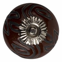 Porzellanknauf Relief - Deko braun mit schwarz