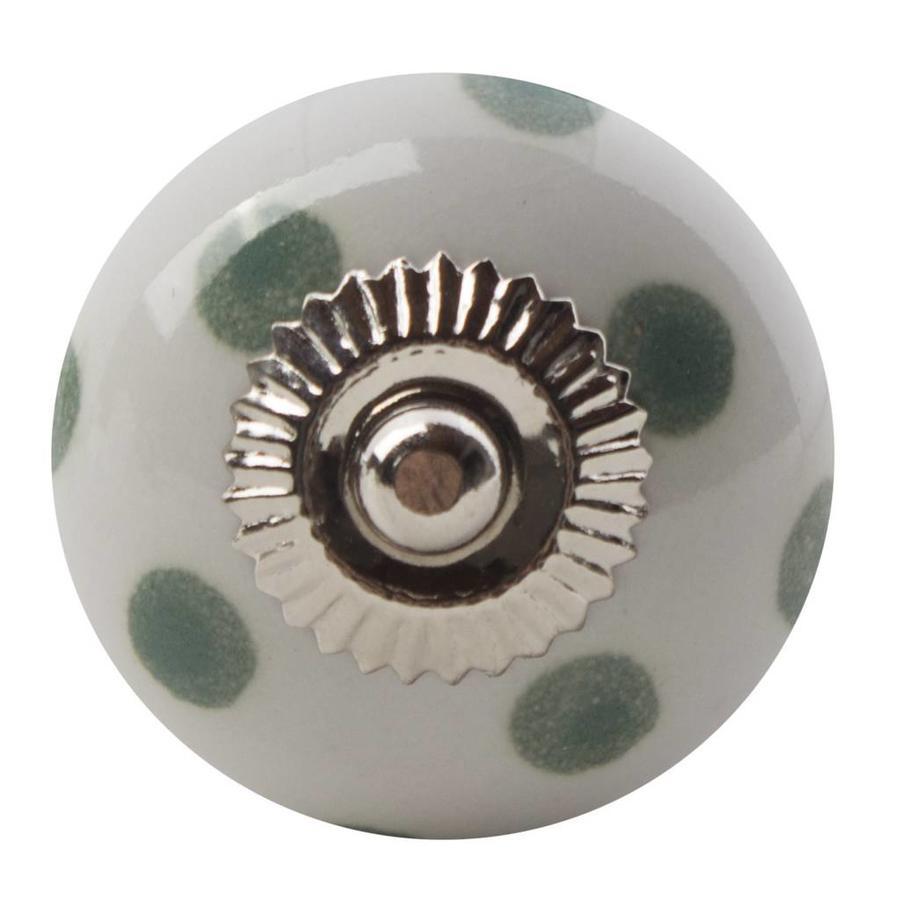 Porzellanknauf weiß mit hellgrünen Punkten