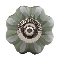 Porzellanknauf grün/weiße Blume