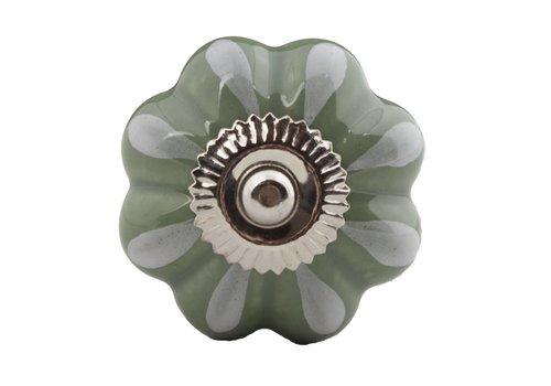 Keramik Möbelknopf grün/weiße Blume