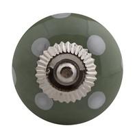 Porzellanknauf grün mit weißen Punkten