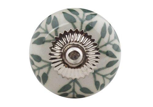 Keramik Möbelknopf - weiß mit grünen Blättern