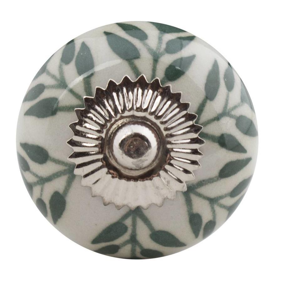 Porzellanknauf weiß mit grünen Blättern