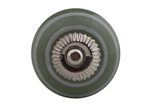 Möbelknopf grün mit weißen Streifen