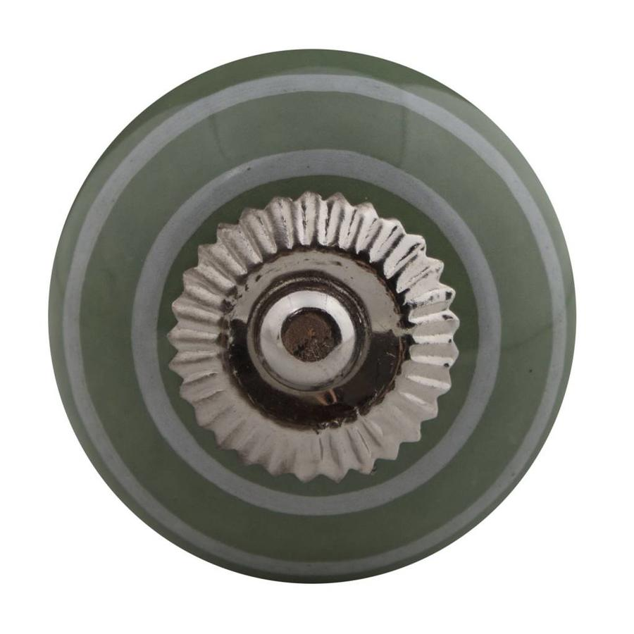 Porzellanknauf grün mit weißen Streifen