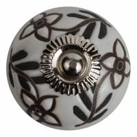 Porzellanknauf Relief - Blumen weiß mit schwarz