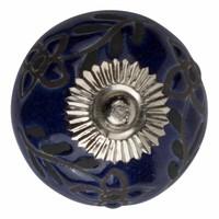 Porzellanknauf Relief - Blumen blau mit schwarz