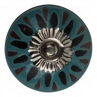 Porzellanknauf Relief - türkis mit schwarz Deko