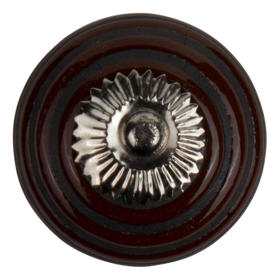 Porzellanknauf Relief - braun mit schwarzen Streifen