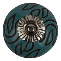 Porzellanknauf Relief - Deko türkis mit schwarz