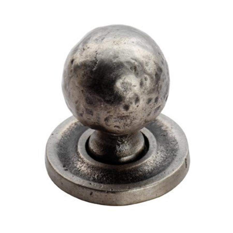 Gusseisen Möbelknauf 32mm - Zinn-Effekt gehämmert