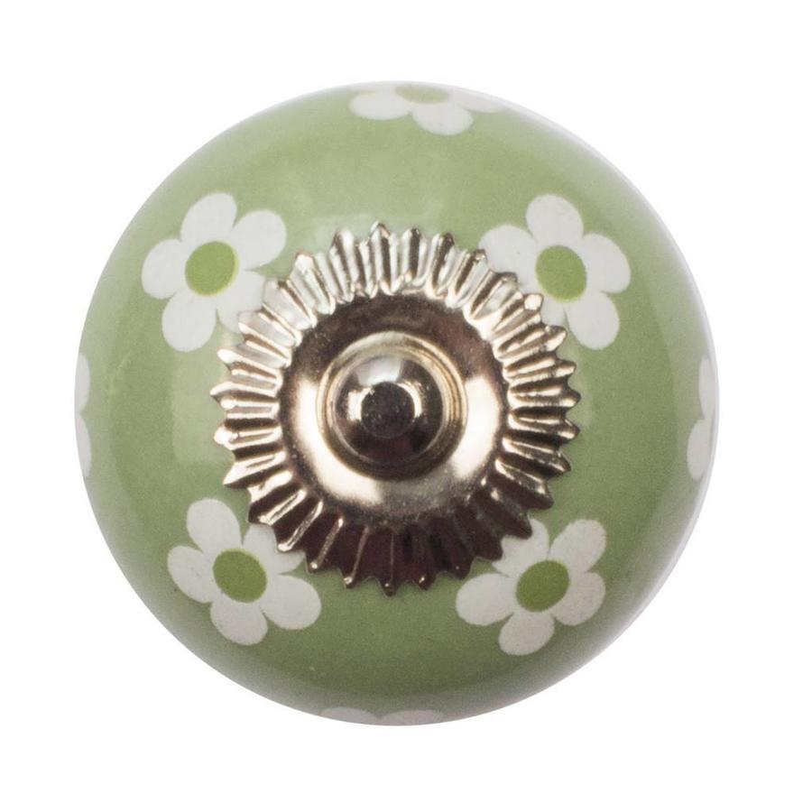 Porzellanknauf grün mit weißen Blümchen
