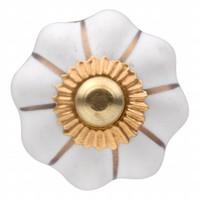 Porzellanknauf weiße Blume mit goldenen Streifen 30mm